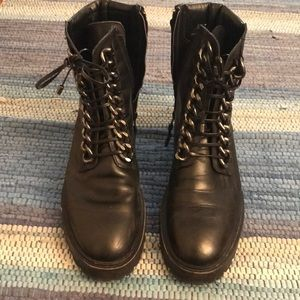 Zara Black Combat Boots with Silver Laced Design